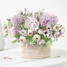 3pcs Artificial Rose Flowers Bouquet Bridal Hand Holding Colorful Tea Pot Silk Fake For Home Table Garden Decoration