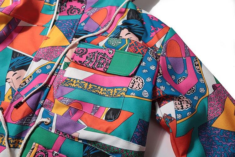 Japanese Ukiyo E Style Color Block Patchwork Jacket 6
