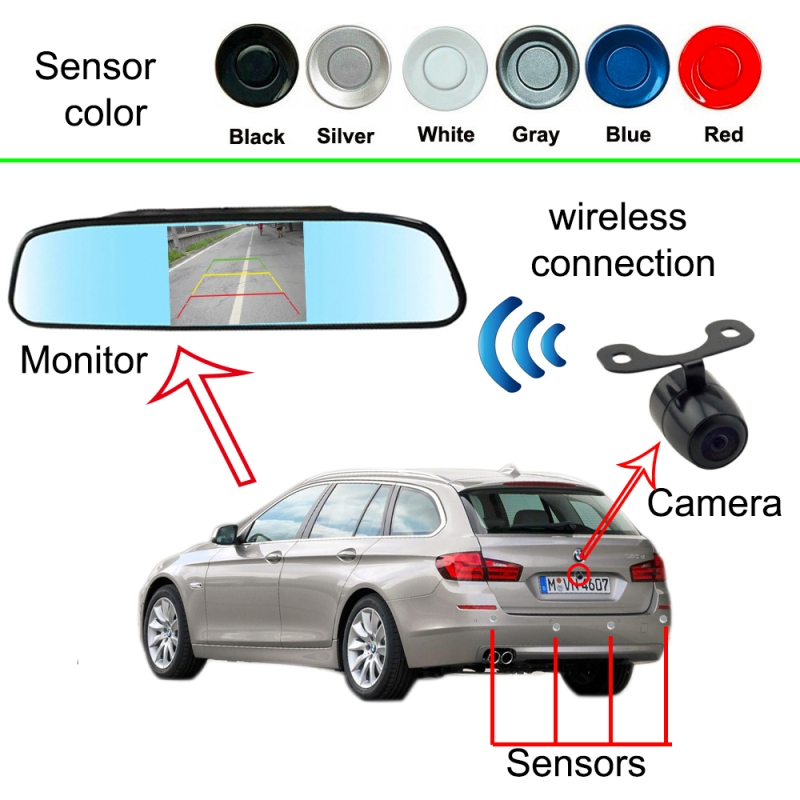 Wireless 3in1 Video Parking Sensor Camera + 4.3 inch screen + 4 ultrasonic probes Car Rearview Reverse Radar System