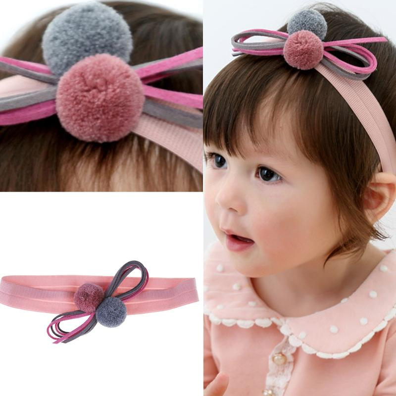 где купить Baby Bowknot Headband Lovely Girls Soft Elastic Ball Hair Bands Headwear Kids Baby Hair Accessories Girls Princess Headdress дешево