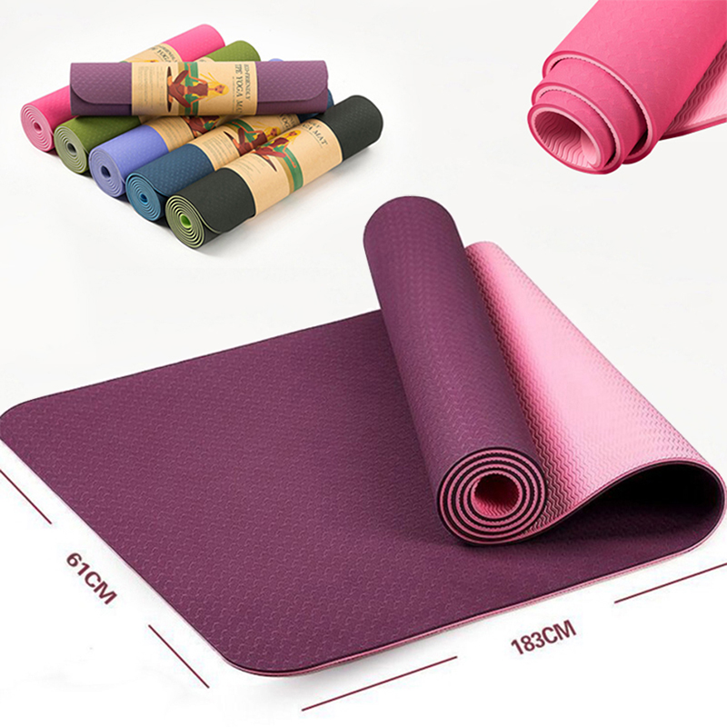 6MM TPE Non-slip Yoga Mats For Fitness Tasteless Brand Pilates Mat 8 Colors Gym Exercise Sport Mats Pads with Yoga Strap