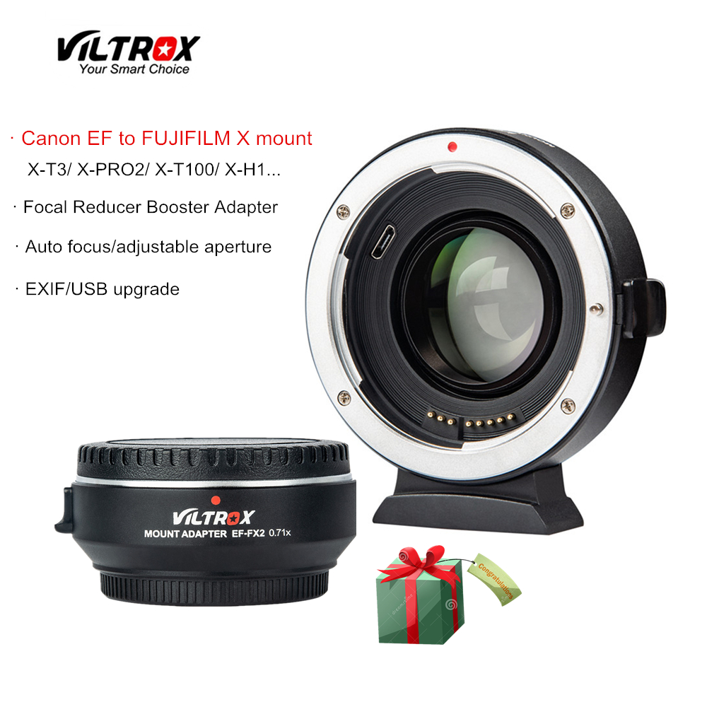 Viltrox EF-FX2 Focal Reducer Booster Auto-focus lens Adapter  0.71x for Canon EF lens to FUJIFILM X-T3 X-PRO2 X-T100 X-H1 X-A20Viltrox EF-FX2 Focal Reducer Booster Auto-focus lens Adapter  0.71x for Canon EF lens to FUJIFILM X-T3 X-PRO2 X-T100 X-H1 X-A20
