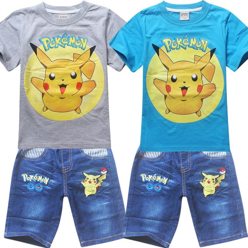Summer Kids Clothes Baby Boys Pikachu Clothing Children Suits pokemon go Kids Boy Set T-shirt+Jeans Cartoon Clothes Sports Suit стоимость