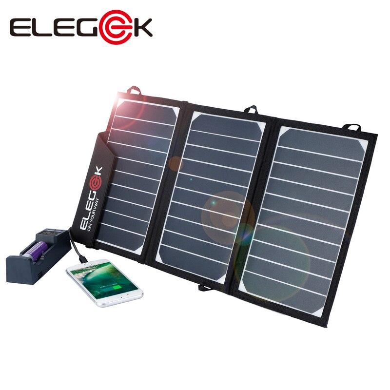 ELEGEEK Portable 15 W chargeur solaire panneau pliant 5 V solaire USB téléphone chargeur de batterie pour iPhone/batterie externe avec 2 Ports USB