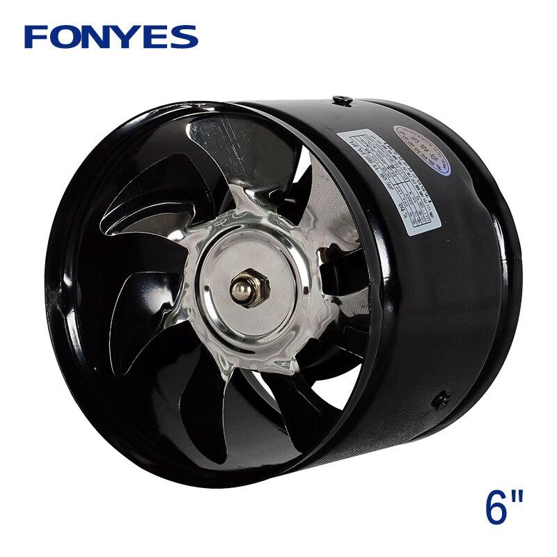 6 pouces d'échappement en ligne conduit ventilateur ventilation ventilateur métal tuyau extracteur ventilateur mur ventilateur pour salle de bains cuisine 150mm 220V 110V