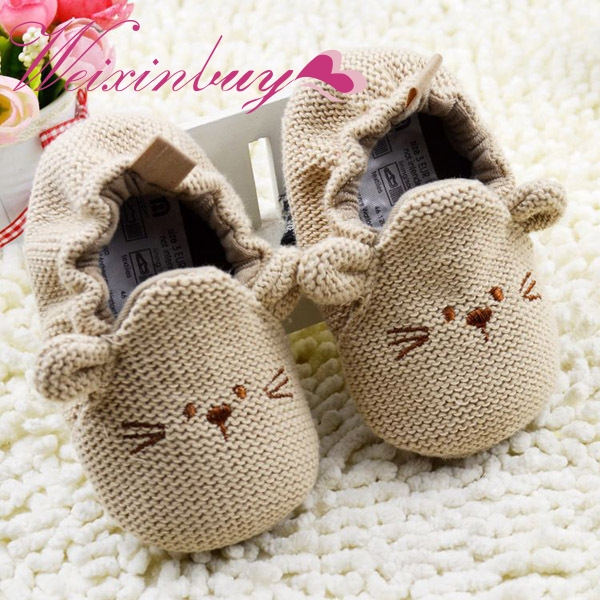 Cute Infant Toddler Baby Newborn Boy Girl Knitted Crib Shoes Cartoon Elastic First Walkers