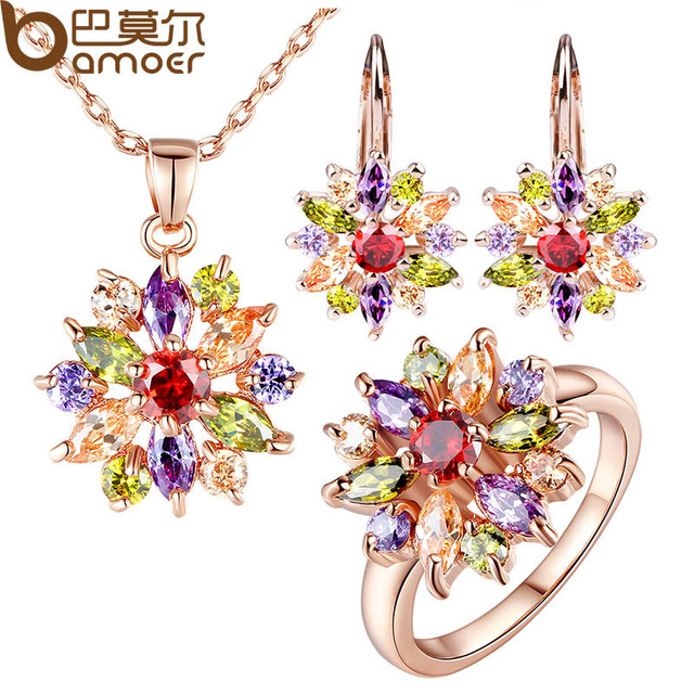 BAMOER Rose Gold Color Jewelry Sets for Women with High Quality Multicolor AAA Z