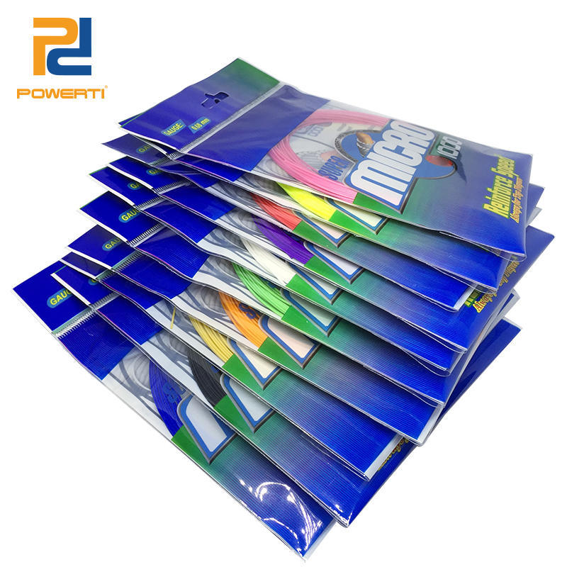 POWERTI 30pcs/lot 0.68mm Nylon Badminton Racket String BG65 10M Colorful Durable High Elasticity String