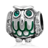 Fashion 925 Sterling Silver Owl Bead Charms Crystal Jewelry Fit Pandora Bracelets Necklaces For Women