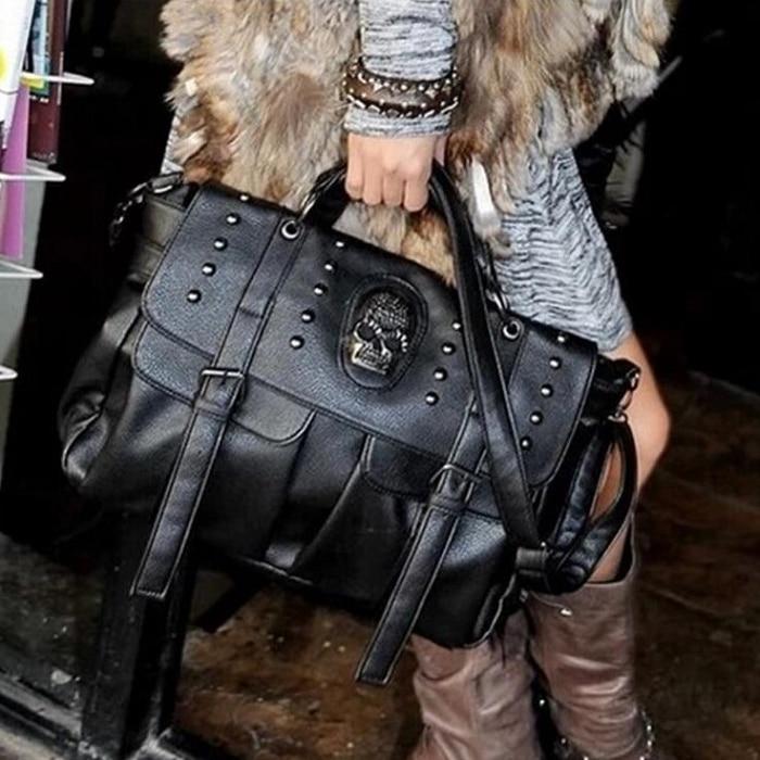 Shoulder Bag Lady Fashion Bag Designer Punk Skull Rivet Bag All-Match Women's Handbag Black Big Tote Bag