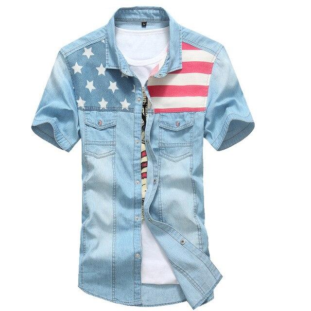 Мода для мужчин летние джинсы рубашки с коротким рукавом однобортный мандарин воротник Printting тонкий карманный Gentlem джинсы рубашки продажа топ