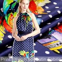 138 115CM Wide 19MM Dots Print Blue Strech Silk Satin Fabric For Blouse Dress Clothing Cheongsam