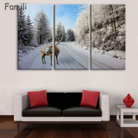 Canvas Wall Art Poster Home Decor Living Room 3 Pieces European Sunset Highway Cityscape Paintings HD