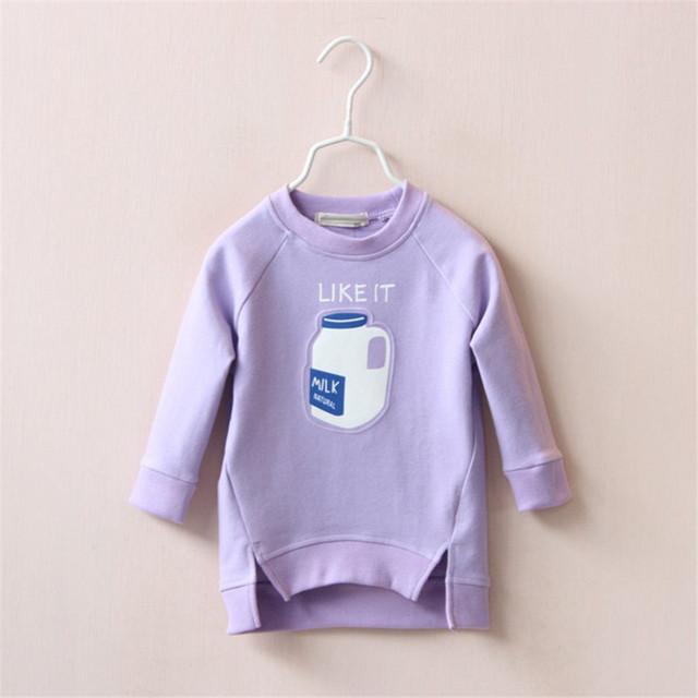 2017 Otoño invierno mejor púrpura botella de leche engrosamiento etiqueta privada respaldo de vellón cálido T-shirt ropa superior sin forro