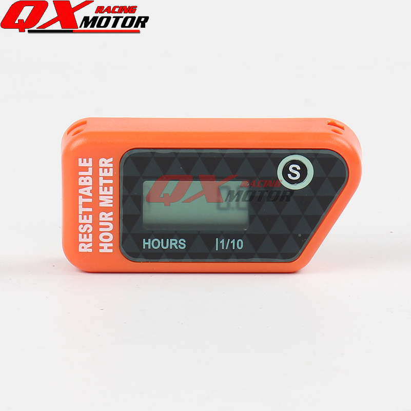 Digital Hour Meter for Motorcycle Bike ATV Snowmobile Boat Ski Dirt Gas Engine - Orange free shipping