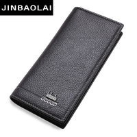 New Luxury Brand 100 Top Genuine Cowhide Leather High Quality Men Long Wallet Coin Purse Casual