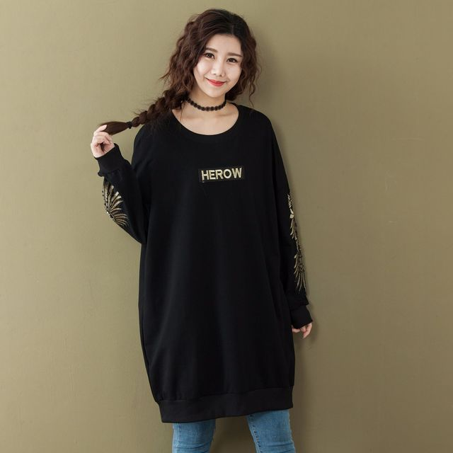 86cadfe4ce3 Spring Oversized Letter Embroidered Beading Women Long Sleeve T Shirt 2018  Autumn Korean Casual Black Cotton