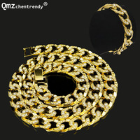 Mens Miami Cuban Cubra Link Chain Gold Silver Fully Bling Hip Hop 15mm 30 Iced Out Chain Necklace 8.5 Bracelet Jewelry sets