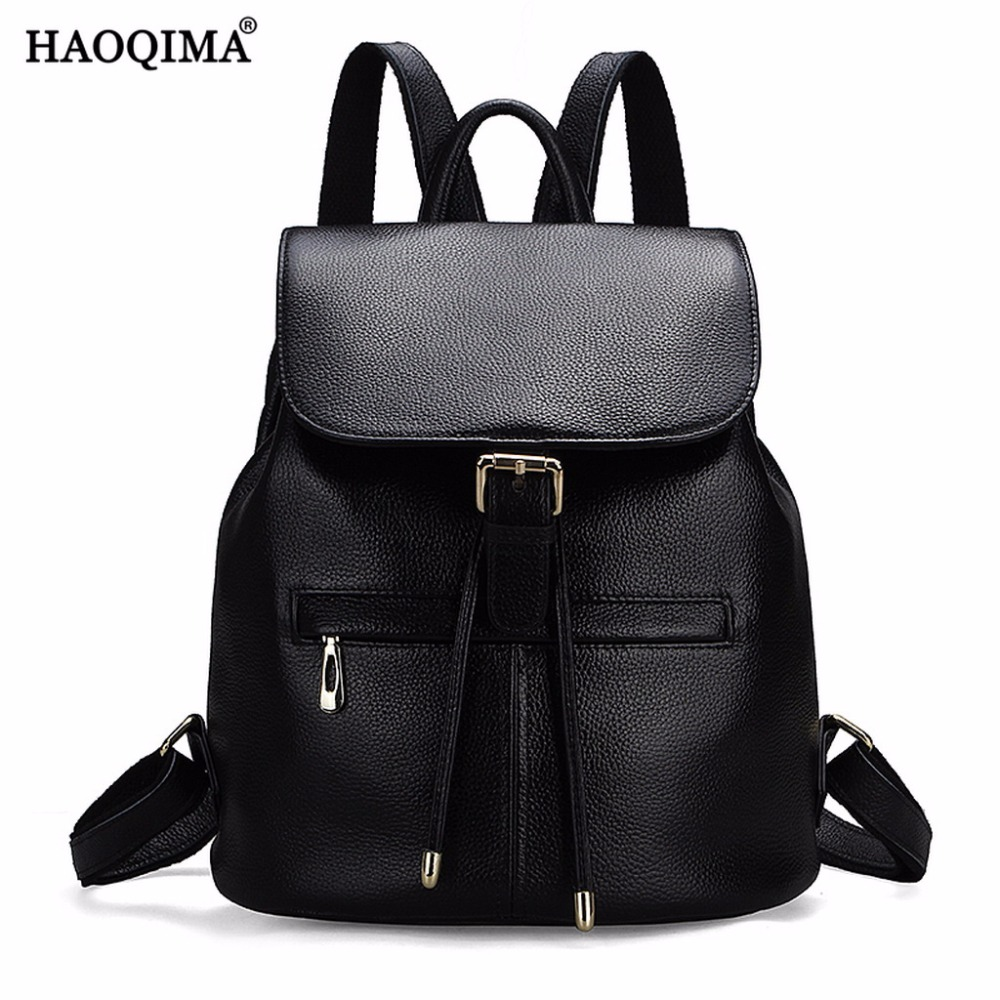 HAOQIMA Fashion Genuine Leather Backpacks Real Cowhide Women Backpack Schoolbag School Bag For Teenagers Girls zency genuine leather backpacks female girls women backpack top layer cowhide school bag gray black pink purple black color
