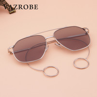 Vazrobe Brand Steampunk Goggles Sunglasses Women Man Earing Sun Glasses For Female Decoration Designer Red Clear