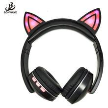 BONWAYE Foldable Flashing Glowing cat ear headphones Gaming Headset Earphone with LED lights For Kids