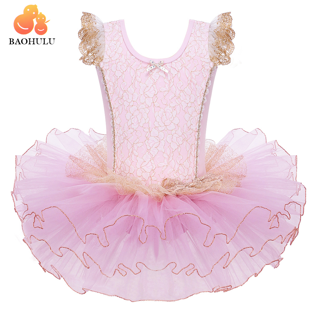 BAOHULU Girls Ballet Dress Pink Golden Line Gymnastics Leotard Professional Tulle Sleeveless Ballet Dance Costume for Ballerina in Ballet from Novelty Special Use