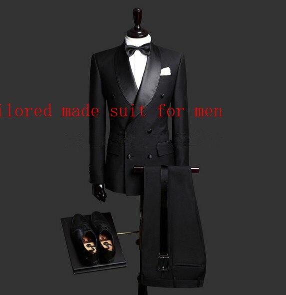 Erkek Kıyafeti'ten T. Elbise'de Sıcak Satış tek göğüslü Siyah Damat Smokin erkek Takım Elbise Şal Yaka Groomsmen Erkek Düğün Takımları Balo Suits (ceket + pantolon + kravat)'da  Grup 1