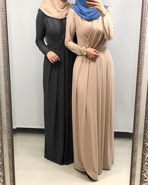 7colors Elegant Muslimah Pleated abaya Turkish Singapore full length Jilbab Dubai female Muslim Islamic dress wq1330 dropship 1