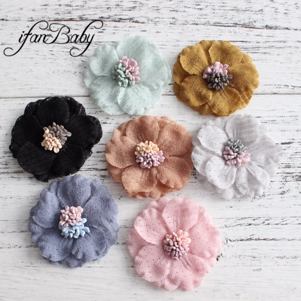 Unfinished Fabric Rose stamen Flower for hair flower brooch clip Kids Girl Artificial flowers