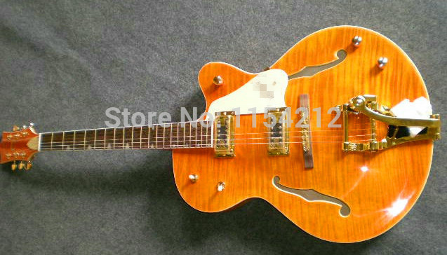 Cheap Hot Selling High Quality Hollow Body f Holes Jazz Guitarra Gretsch G 6120 Electric Guitarra Orange Color