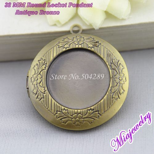 Wholesale Vintage Locket Necklaces 200pcs/lot Antique Bronze 32MM Round Brass Floating Locket Charm Pendant  For Jewelry Making