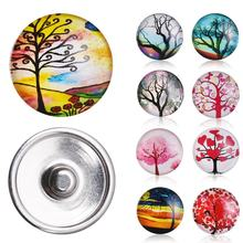 12 Pcs/Set High Quality Trees Glass Craft Snap Buttons Fit DIY 18mm European Bracelets Necklace Woman Fashion Charms Bijoux Gift(China)
