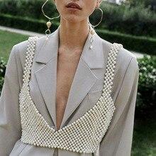 New Fashion Boho Imitation Pearls Statement Chains Pendant Dress Jewelry Pearls Beads Harness Body Chain Wedding Jewelry