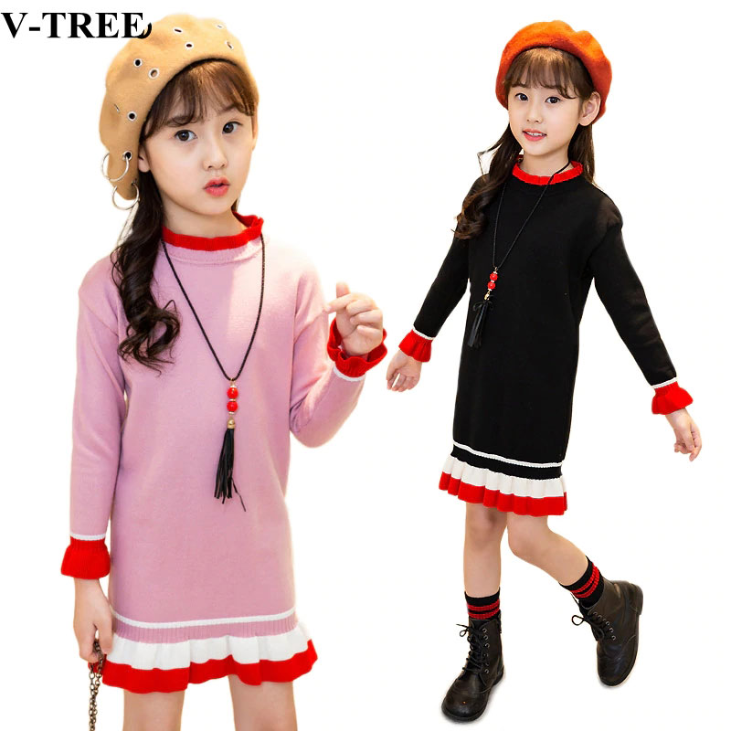 Autumn Winter Girls Dress Knitted Sweater Dresses For Girl 3-12T Teenager Bottom Pullover Children Princess Dress Roupa Infantil women sweater dress 2017 autumn winter long sexy solid lurex bodycon dresses elastic skinny twinkle knitted dress vestidos jy273