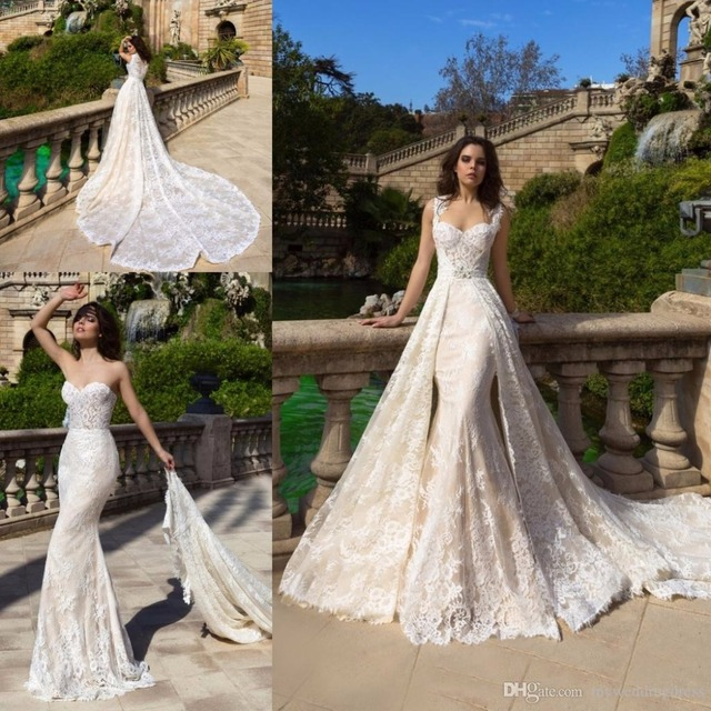 6d8457e666a37 2017 Vintage Summer Champagne Lace Overskirts Wedding Dresses Mermaid  Wedding Dress Bridal Gowns With Detachable Train Plus Size