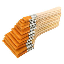 12pcs/Set High quality nylon Mao Banshua oil painting brush, BBQ brush for painting art Easy To Clean wooden cleaning brush(China)