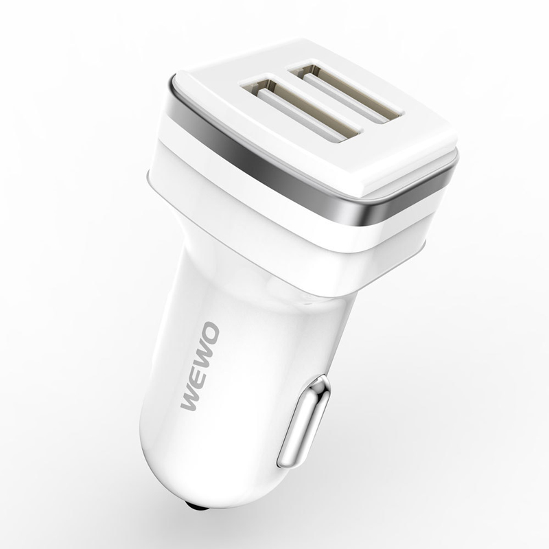 WEWO Car Use Dual 2 USB 5V 2.4A Cell Phone Charger With Fireproof Cover Support Fast Charge For iPhone iPad SamsungTablet PC