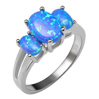 Hot Sale Exquisite Blue Fire Opal 925 Sterling Silver Ring Good Quality Ring Beautiful Jewelry Size