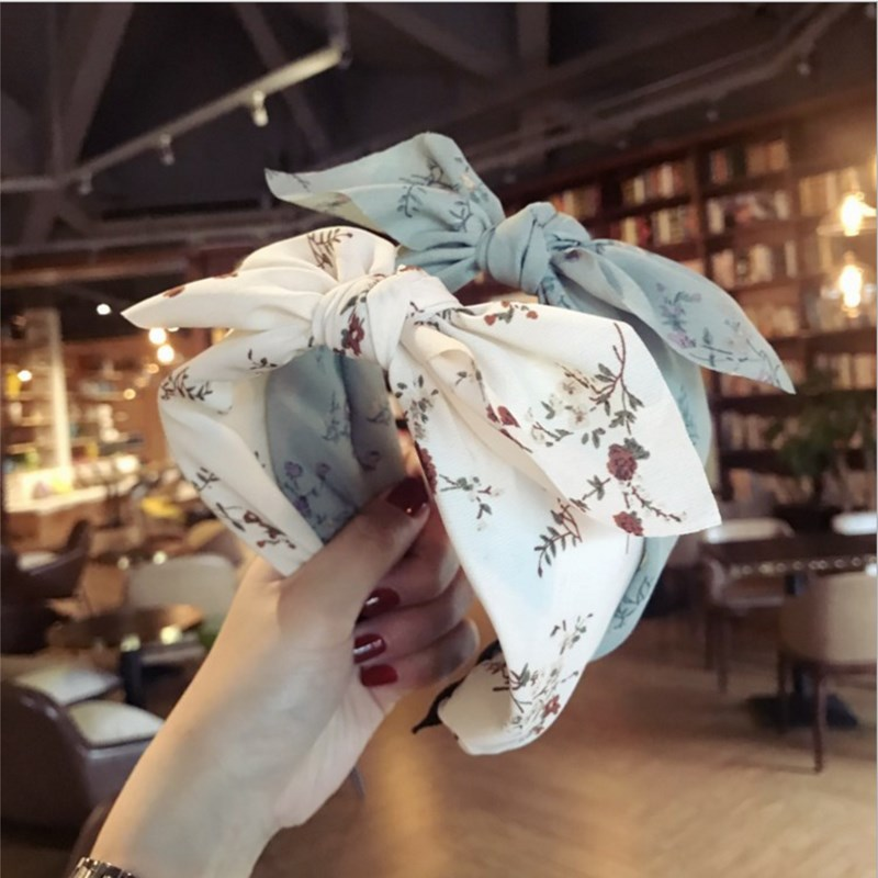 New Fashion Hair Accessories Women's High-end Fabric Floral Middle Rabbit Ears Bow Wide-brimmed Headband Headband Girl Hair Band