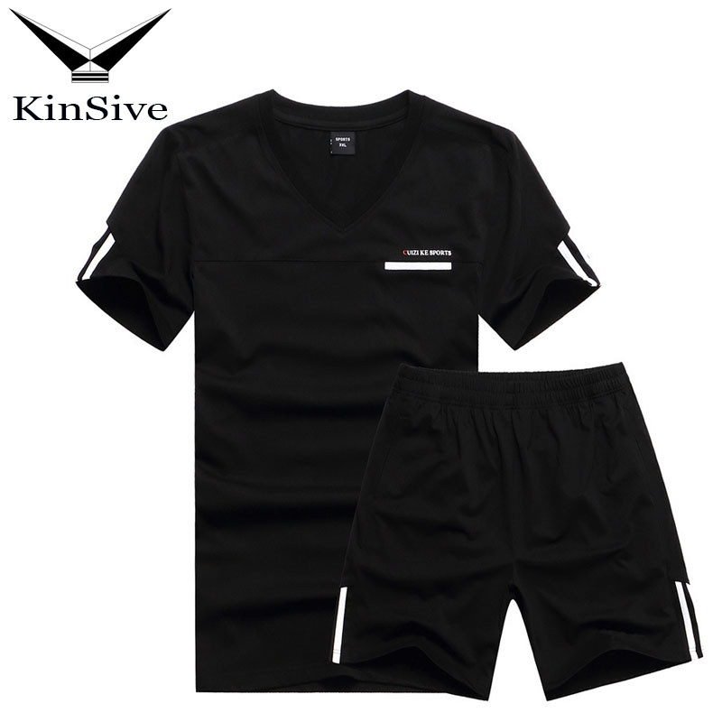 Mens Fitness Tracksuit Set Summer Casual Sporting Plus Size Men Two Piece Sets Short-Sleeved Shirt +Shorts Outwear Sweat Suits