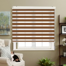 Adjustable Sunlight Home Ochre Valance Dual Roller Blinds Zebra Customized