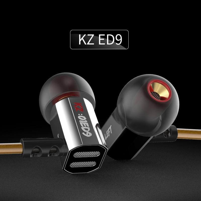 Genuine KZ ED9 Earphone 3.5mm In Ear HIFI Headset Bass Metal Earbuds DJ Headsets ear bud Mobiles Mp3 Computer earphones ecouteur original senfer dt2 ie800 dynamic with 2ba hybrid drive in ear earphone ceramic hifi earphone earbuds with mmcx interface