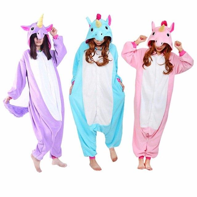 Unicorn Onesie Animals Pajamas Adults Kids Men Women Cartoon Sleepwear Party Family Overalls Winter Warm Home Wear Funny Loose