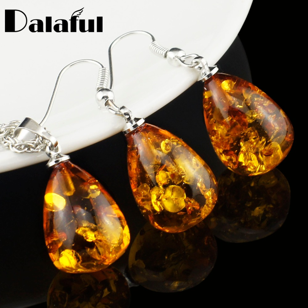 Wanita Fashion Imitasi Tear Drop Baltic Pendant Kalung Anting-Anting Pernikahan Jewelry Set L40701