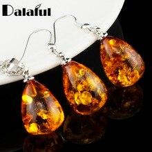 Women's Fashion Imitation Tear Drop Baltic Pendant Necklace Earring Wedding Jewelry Set L40701