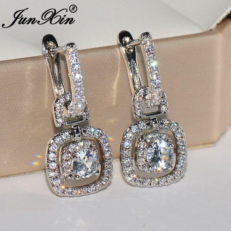 JUNXIN Luxury Female Crystal Square Hoop Earrings For Women Jewelry Silver Color White Zircon Geometric Earrings Wedding