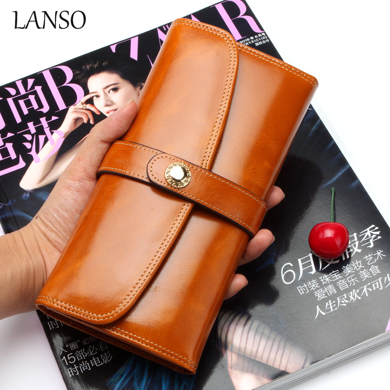 LANSO Vintage Genuine Cowhide Oil Wax Leather Unisex Wallet Fashion Design Long Wallets Card Holder Phone Clutch Coin Purse