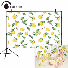 Allenjoy photo studio background white lemon repeated painting baby birthday backdrops photocall Professional photography цена