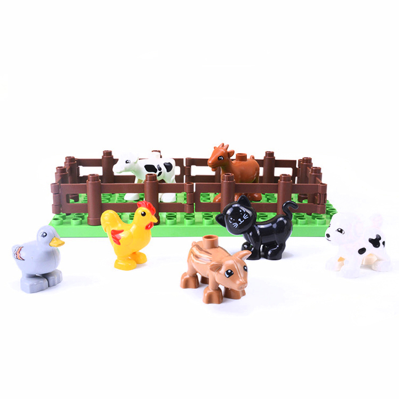 5Pcs-50pcs DIY Big Size Farm Dinosaur Animal Series Building Blocks Sets Bricks Compatible with Duploe Toys  for children  (2)