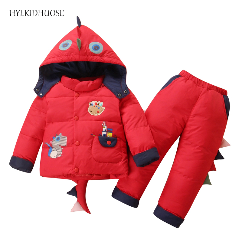 HYLKIDHUOSE 2017 Winter Baby Girls Boys Clothes Sets Warm Thick Children Windproof Suits Down Coats+Pants Infant Kids Suits toddler girls hello kitty clothes set winter thick warm clothes plus velvet coat pants rabbi kids infant sport suits w133